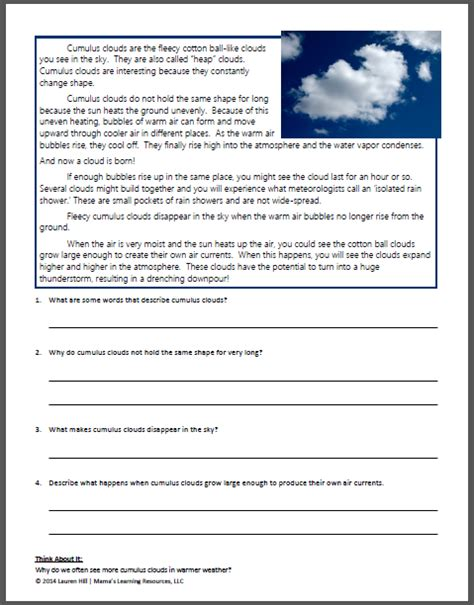 Water Cycle Reading Comprehension Worksheet by Clouds And The Water Cycle Worksheets Mamas Learning Corner