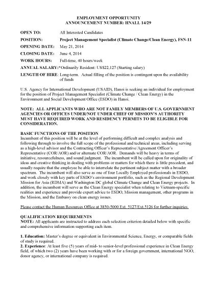 Change Management Specialist by Hnall 14 29 Project Management Specialist Climate Change Clean Energy Fsn 11 U S