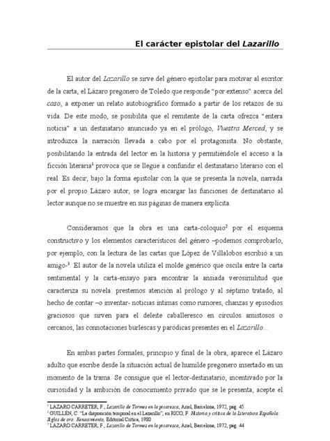 El carácter epistolar del Lazarillo | Novelas | Narración