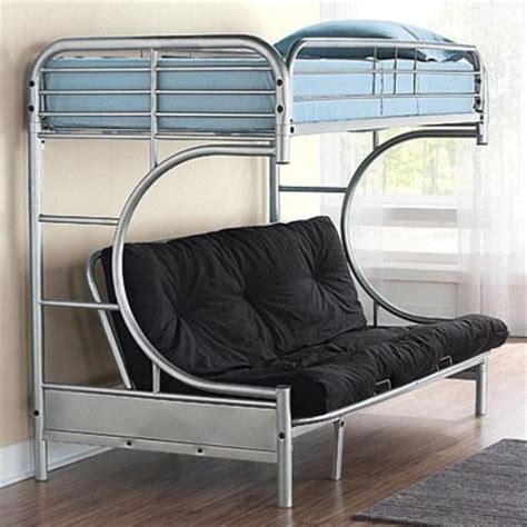 metal frame bunk bed with futon 400 kinda cool comes in black and white too metal