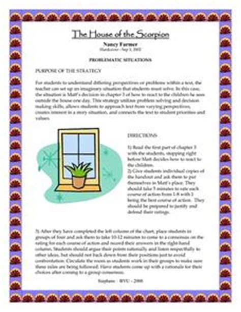 house of the scorpion lesson plans house of scorpion lesson plans worksheets reviewed by