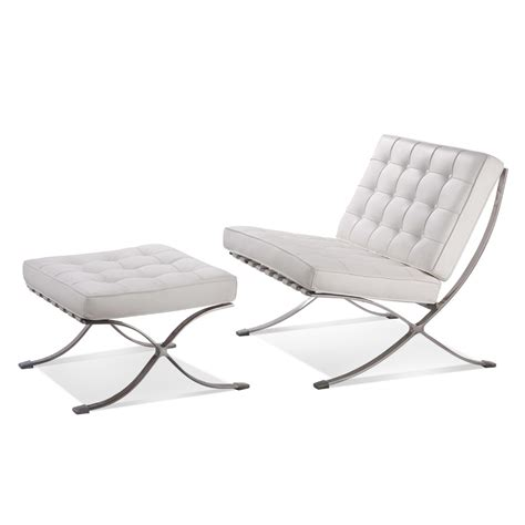 Barcelona Lounge Chair Replica by Barcelona Style Premium Lounge Chair And Ottoman White