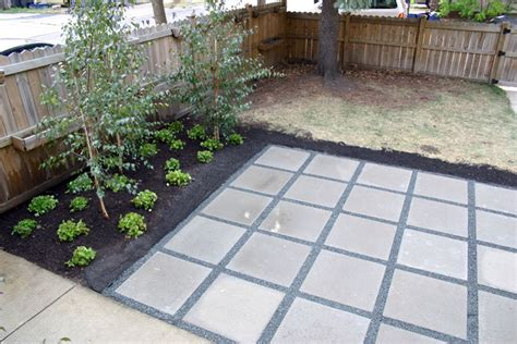 Paved Backyard Ideas Backyard Patio With Concrete Pavers 2 X2 Simple