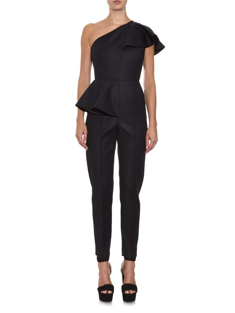 One Shoulder Black Jumpsuit lyst msgm ruffled one shoulder slim leg jumpsuit in black