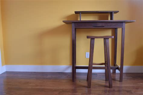 solid walnut quot flatiron quot standing desk with pencil drawer