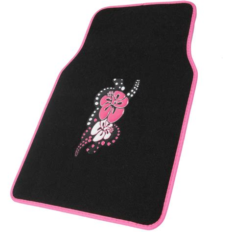pink flower floor l design car floor mats pink hawaiian flower 4 pc set for