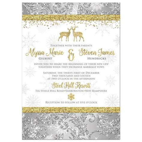 Wedding Invitation Optional Photo Template Silver Gold White Snowflakes Faux Glitter Glitter Invitation Template