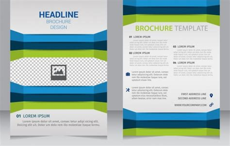 brochure template blue green edges 3d decoration free