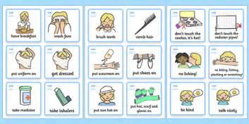 Sen communication cards daily routine girl sen communication