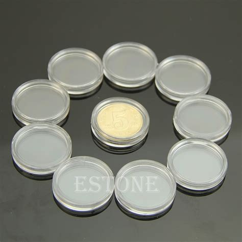 Pelembab Clear N Clear 10 pcs applied clear cases coin storage capsules holder plastic 22mm in storage