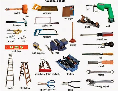 layout tools names tools and equipment vocabulary 150 items illustrated