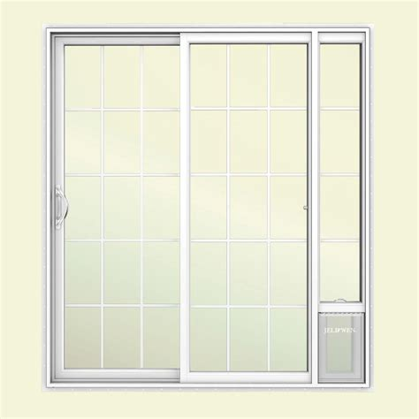 Vinyl Patio Pet Door Jeld Wen 72 In X 80 In V2500 White Vinyl Prehung Left 15 Lite Sliding Patio Door With