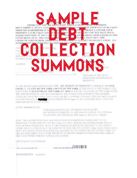 Sle Credit Card Summons Response Sle Debt Collection Letter By Attorney How To Answer A Summons And Complaint In Debt
