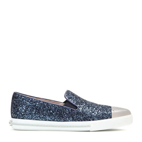 miu miu sparkle sneakers miu miu glitter slip on sneakers in blue lyst