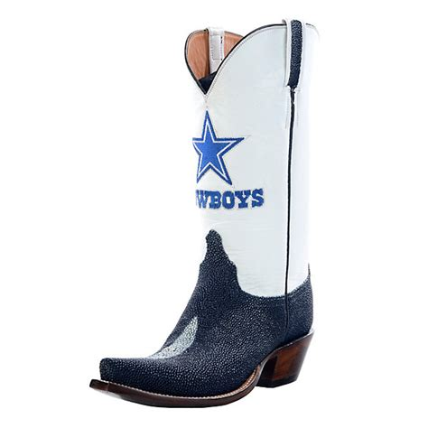 dallas cowboys lucchese womens navy stingray boot width