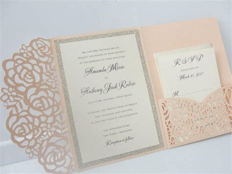 Pocketfold Wedding Invitations by Laser Pocketfold 1 Glitter Coral Blush