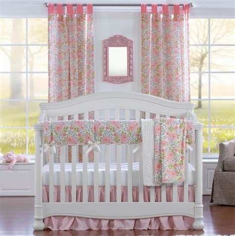 pink floral bumperless crib bedding liz and roo