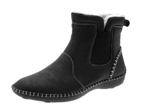 comfortable ankle boots womens comfortable flat chelsea gusset faux leather ankle