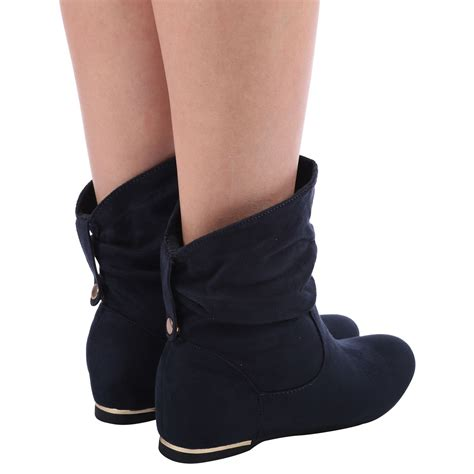womens flat slouch low heel wedge ankle boots shoes