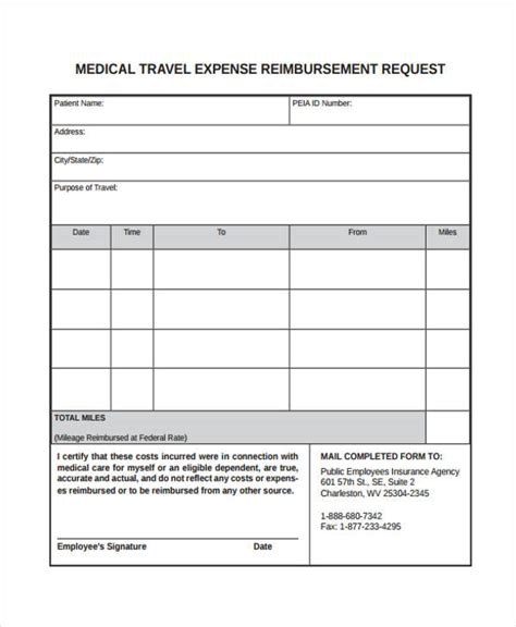 travel expense reimbursement form template travel request form template