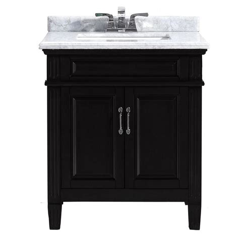Black Vanity With White Top by Blaine 30 In Vanity In Black With Marble Vanity Top In Carrara White Bfblaine30 The Home Depot