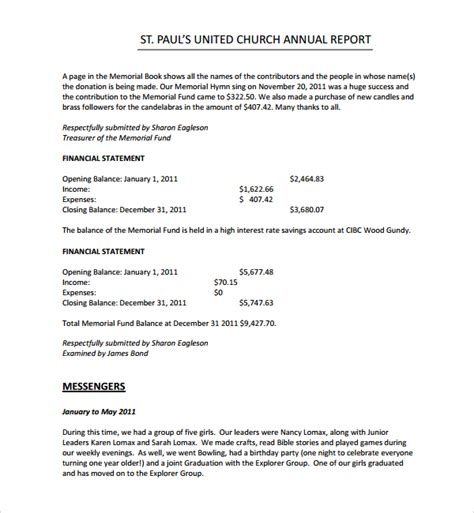 church annual financial report template sle helloalive