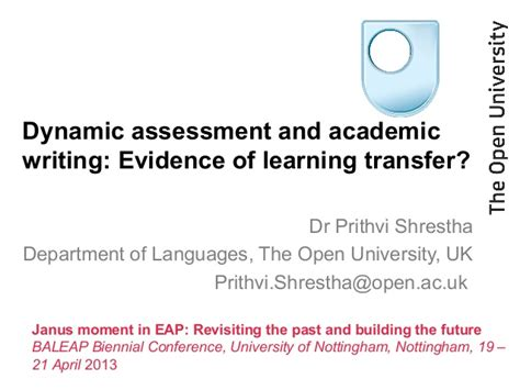dynamic assessment and academic writing evidence of