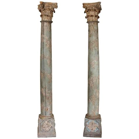 Solid Wood Columns Pair Of 19th Century Solid Wood Corinthian Columns For
