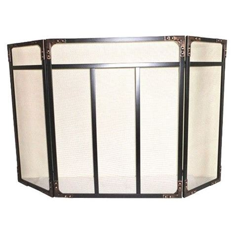 threshold riveted fireplace screen black brushed bronze
