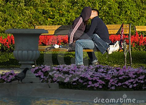 lovers on a park bench young lovers kissing on the bench in the park stock photos