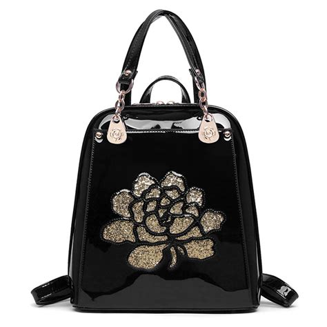 7 Fashionable Bags For School by Floral Patent Leather Backpack School