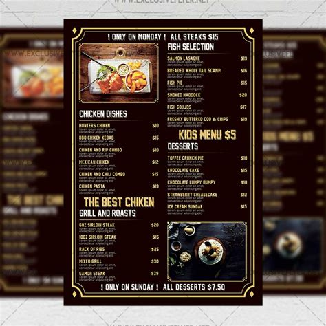a5 menu template pub menu premium a5 flyer template exclsiveflyer