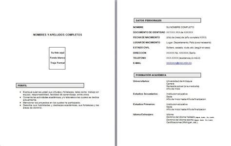 Modelo De Curriculum O Hoja De Vida Formato Hoja De Vida Office Formats