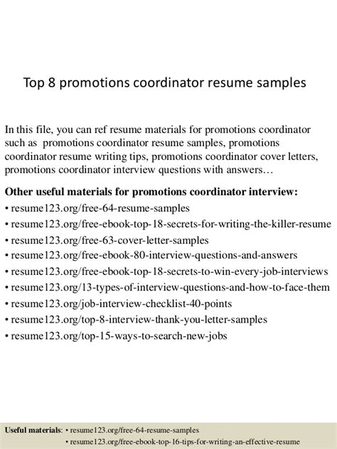 top 8 promotions coordinator resume sles
