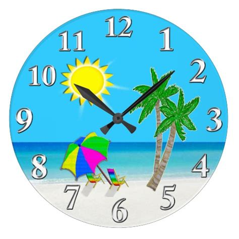 themes of clock cheerful turquoise wall clocks beach theme zazzle