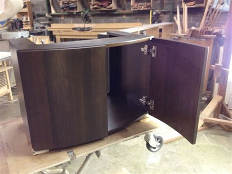curved front walnut veneer vanity cabinet contemporary