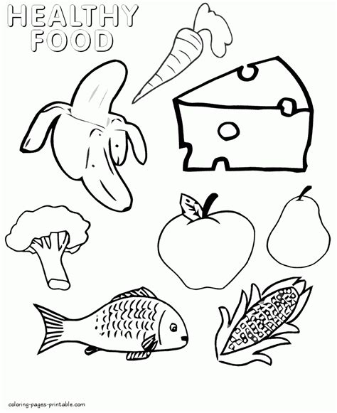 92 food coloring pages to print 20 healthy food