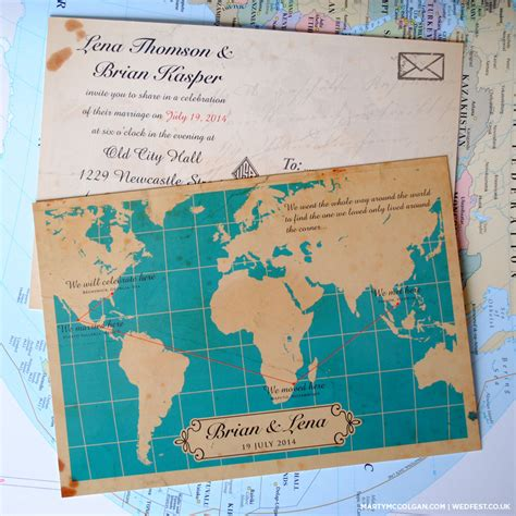 Vintage Map Wedding Invites   WEDFEST