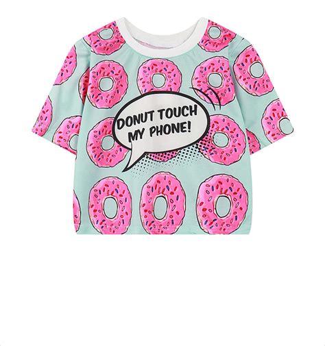 Donut Print Crop Top 10021 hip hop shirts crop tops pink lovely