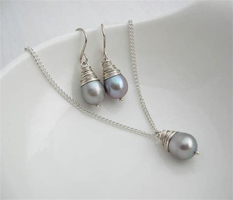 grey baroque pearl necklace and earring set by