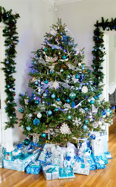 tree blue and silver blue and silver snowflake decor