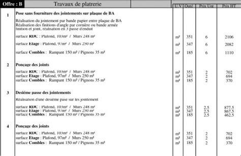 Prix Pose Placo M2 Avec Fourniture 4522 by Avis Devis Joint De Placo 4 Messages