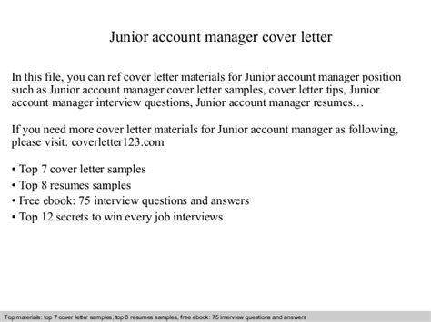 Junior Account Manager Cover Letter Junior Account Manager Cover Letter