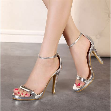 high heeled sandals silver strappy high heel sandals