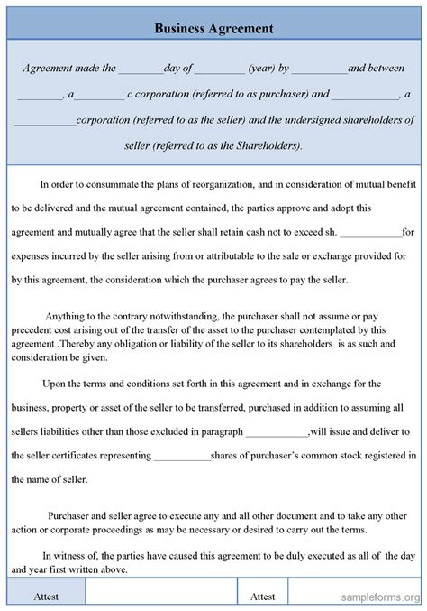 Business Agreement Form Sle Forms Corporate Agreement Template