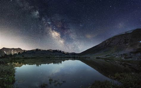 galaxy wallpaper landscape galaxy milky way night stars lake reflection landscape hd