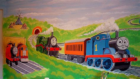 painting tank engine childrens murals wall paintings for childrens