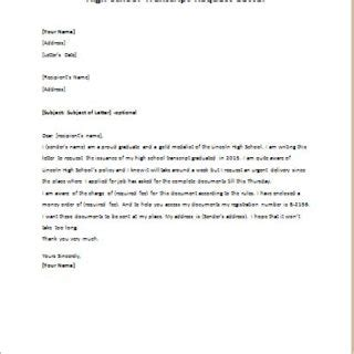 Cover Letter Transcript by Letter Of Request For Transcript Of Records How To Write