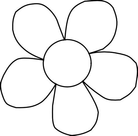 Flower Outline by Black And White Clip At Clker Vector Clip Royalty Free Domain