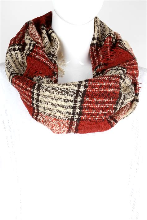 knitting pattern tartan scarf knitted plaid infinity scarf scarves